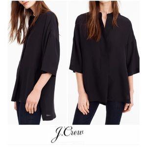 J. Crew Black Silk Hi Low Kimono Top